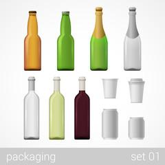 Beer, wine, champagne, coffee and soda cardboard package set