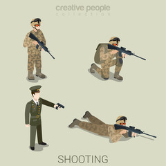 Military aiming people in uniform flat style isometric icon set