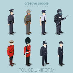 Police people in uniform flat style isometric icon set