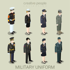 Military army people in uniform flat style isometric icon set
