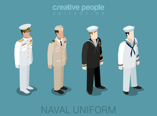 Naval military people in uniform flat style isometric icon set