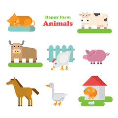 Funny flat kid style happy farm animals icon set