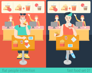 Hipster people eat in fastfood restaurant in vector food concept