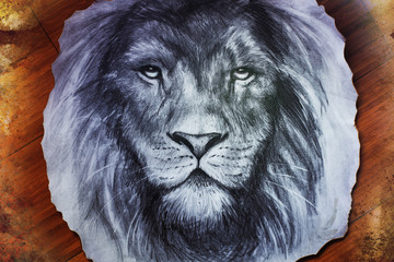 lion face drawing on vintage paper collage, abstract background