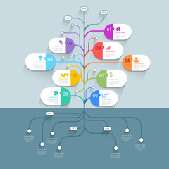 Tree mindmap timeline process infographics template background