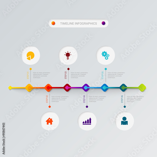 Timeline Process Icons Vector Flat Infographic Template Stock - Free timeline infographic template