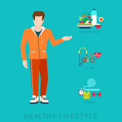 Slim healthy lifestyle vector flat infographic: diet, sport, food