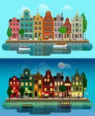 Vector flat European city: day, night, houses, canal, street