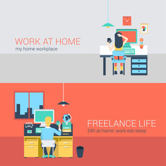 Office and freelance work in workplace furniture vector concept