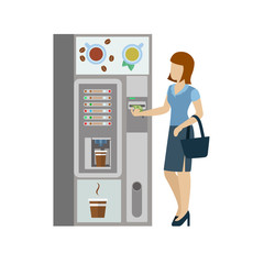 Woman and coffee automatic machine in vector flat coffee break