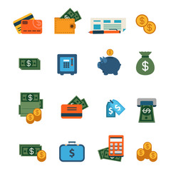 Flat vector site interface icon: finance, banking, dollar, money