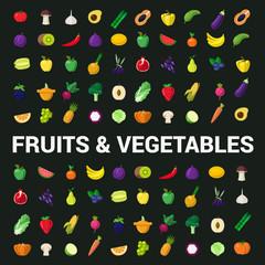 Fruit vegetable berry mushroom plants vector flat food icons