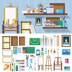 Flat vector art workshop objects: artist workplace, paints brush