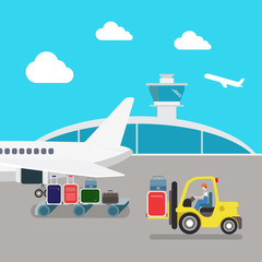 Flat vector airport: plane, luggage, loading, baggage