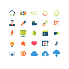 Flat vector mobile web app interface icon pack