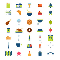 Flat restaurant menu food beverage drink mobile web app icons