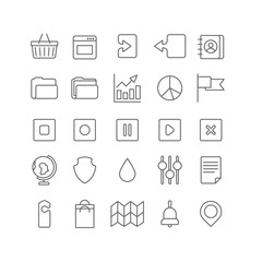 Lineart vector flat web site mobile interface app line art icons
