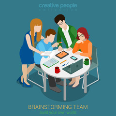 Brainstorming creative team people flat 3d web vector isometric