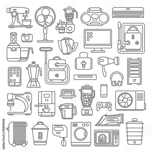 Line Art Graphical Vector Home Appliances Set Kitchen