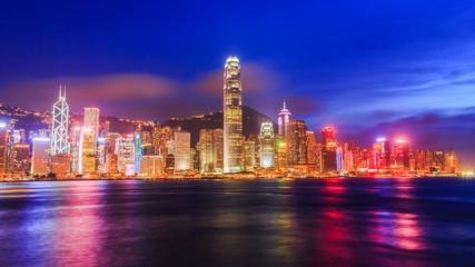 Hong Kong city at harbour in Night.