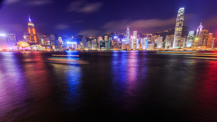 Hong Kong city at harbour in Night.