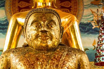 Closeup of the face of buddha