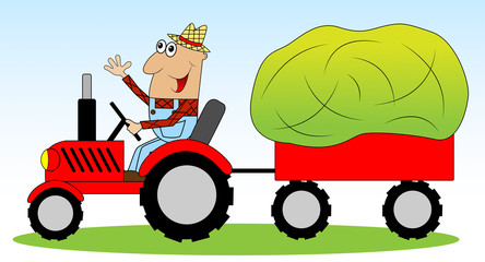 the man is a farmer on a tractor driven hay for animals