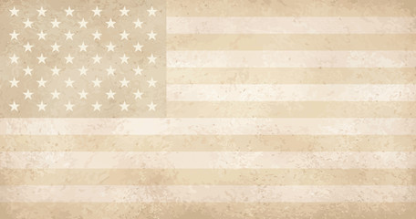 vintage yellowed grunge flag with scratches USA