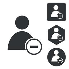 Delete user icon set, monochrome