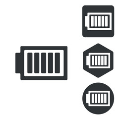 Charged battery icon set, monochrome
