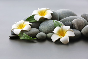 Spa stones with flowers on gray background