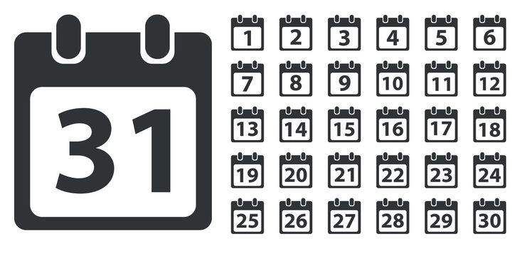 Calendar day icon set, monochrome