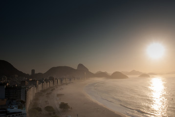 Aerial view of famous Copacabana Beach in Rio de Janeiro
