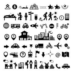 traveler explorer icon set