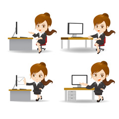 cartoon business woman in office
