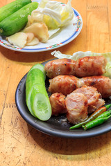 Thai style sausage and vegetable  ginger, cabbage, cucumbers, ch