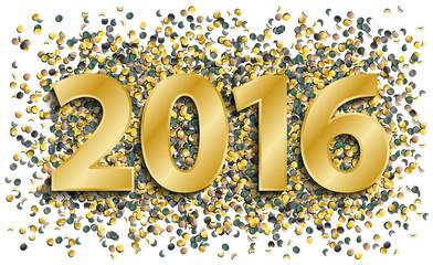Silvester 2016 in gold mit Konfetti Vektor