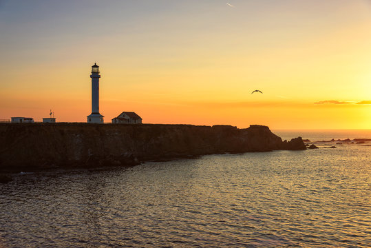 Point Arena Lighthouse at sunset in California