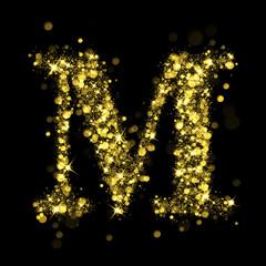 Sparkling letter M of glittering stars bokeh