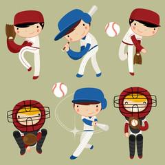 baseball kids character set. vector illustration