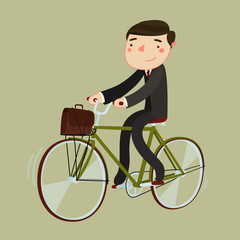 bike to work. man in suite and with briefcase riding a bicycle. vector illustration