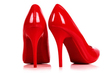 Wall Mural - A pair of red high heels isolated on white. with Clipping path.