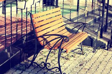 bench on the sidewalk