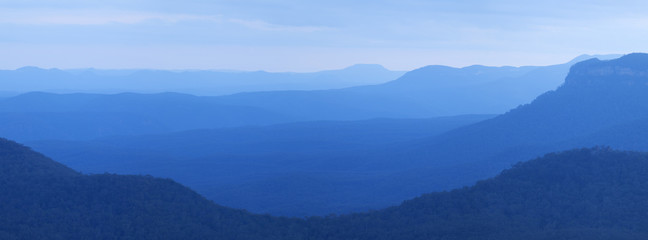 Layers of mountains at dusk, Blue Mountains, NSW, Australia