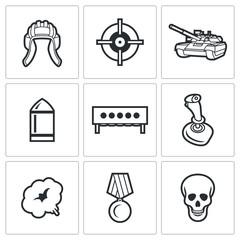 Tank biathlon Icons. Vector Illustration.