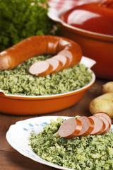 Dutch food: kale with smoked sausage or 'Boerenkool met worst'