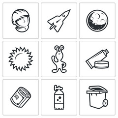 Space flight icons. Vector Illustration.