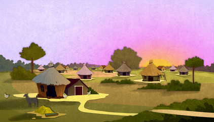 Tribe village houses with farm animals at sunrise in Africa. Cartoon stylish background raster illustration