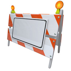 Angled Construction Road Barrier Barricade Sign Blank Copy Space