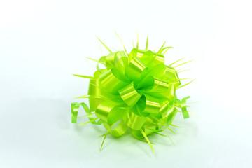 sphere shape handmade ribbon flower on white background, green